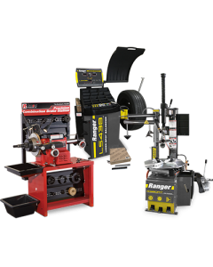 R980AT tire changer, LS43B wheel balancer, and RL8500 brake lathe