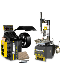 R980XR tire changer, DST30P wheel balancer, and steel tape weights